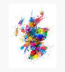 Scotland Paint Splashes Map Photographic Print