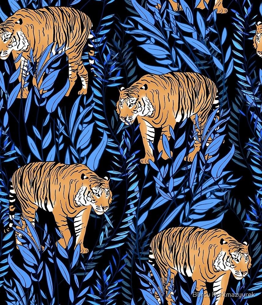 Tiger und Blattmuster von Burcu Korkmazyurek