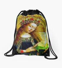 Our Lady Queen of Heaven Virgin Mary Crowning Virgen Maria 101 Drawstring Bag