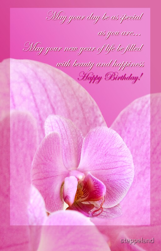 Quot Pink Orchid Birthday Card Quot By Steppeland Redbubble