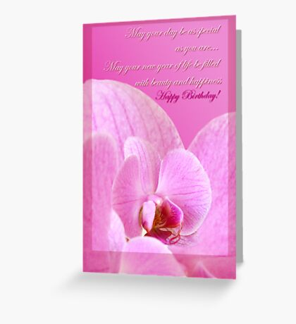Pink Orchid  - birthday card Greeting Card