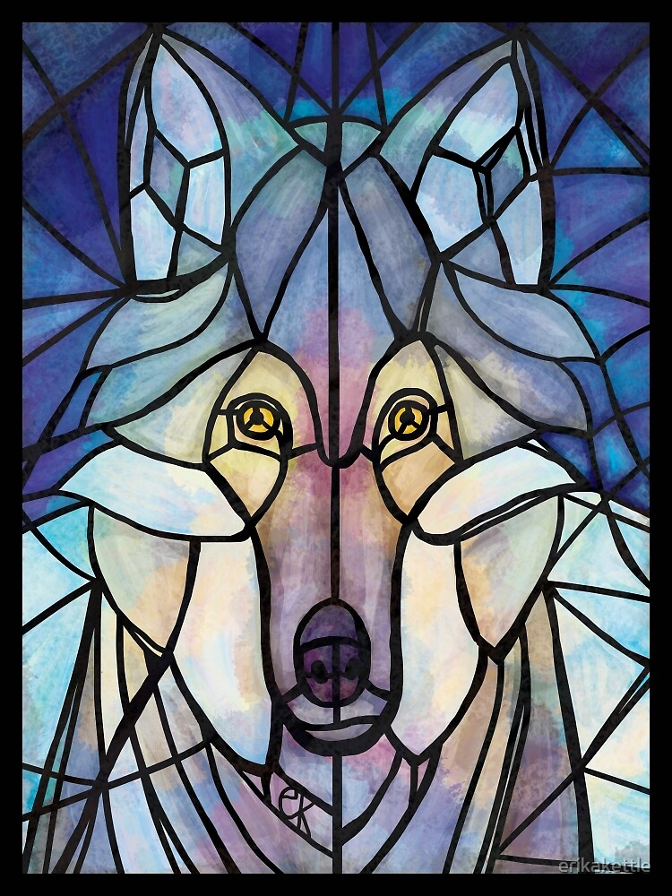 Stained Glass Wolf by erikakettle