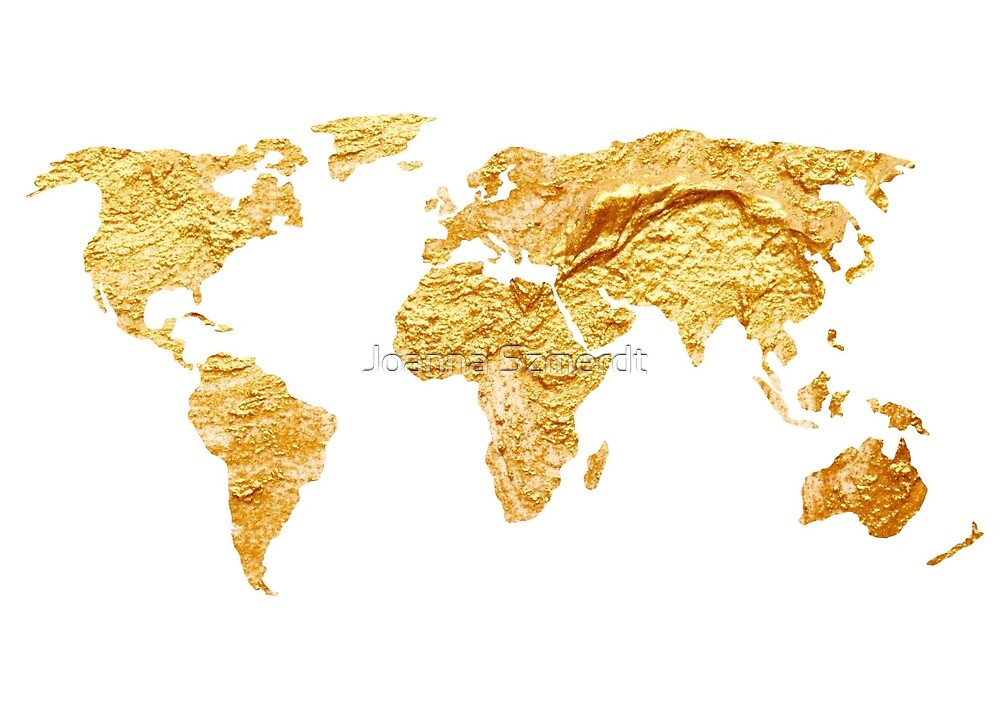 Gold world map watercolor painting by Joanna Szmerdt