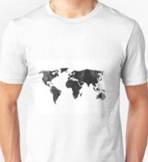 Black world map silhouette Unisex T-Shirt