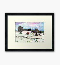 Bredon Hill Gloucestershire in the snow Framed Print