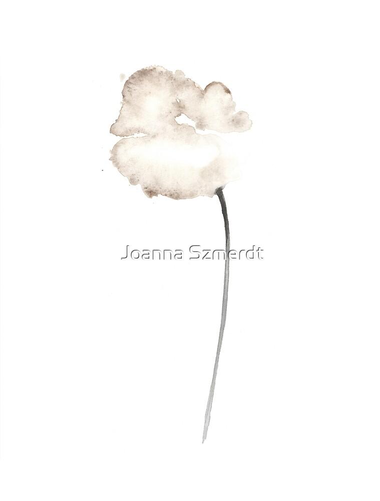White poppy watercolor art print painting by Joanna Szmerdt