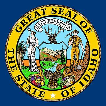 Seal of Idaho, blue background by Alma-Studio