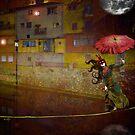 Paseo con sombrilla bajo la luna by DMCart Daniela M. Casalla