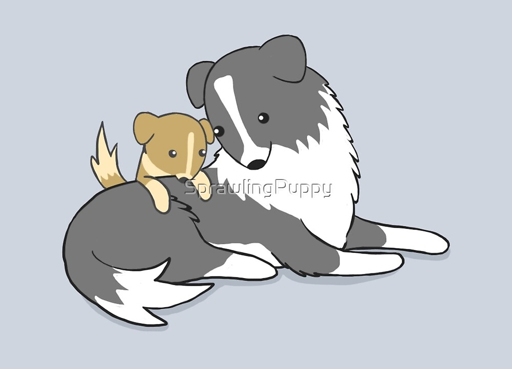 Sprawling Puppy and His Dad by Katie Corrigan