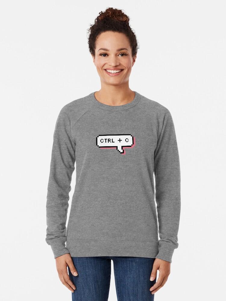 Alternate view of CTRL + C - Pixel Speech Bubble - (Pink) Lightweight Sweatshirt