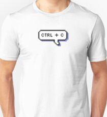 CTRL + C - Pixel Speech Bubble - (Blue) Slim Fit T-Shirt