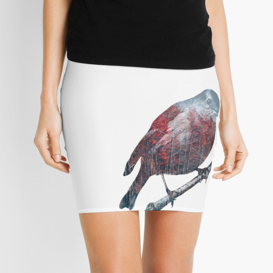 Forest Robin on a Branch  Mini Skirt
