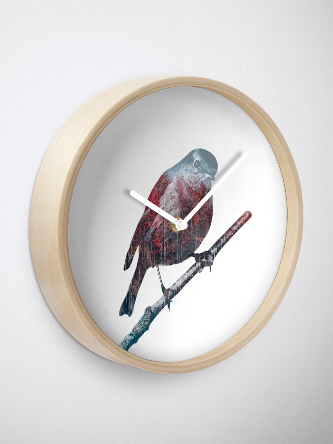 Alternate view of Forest Robin on a Branch  Clock