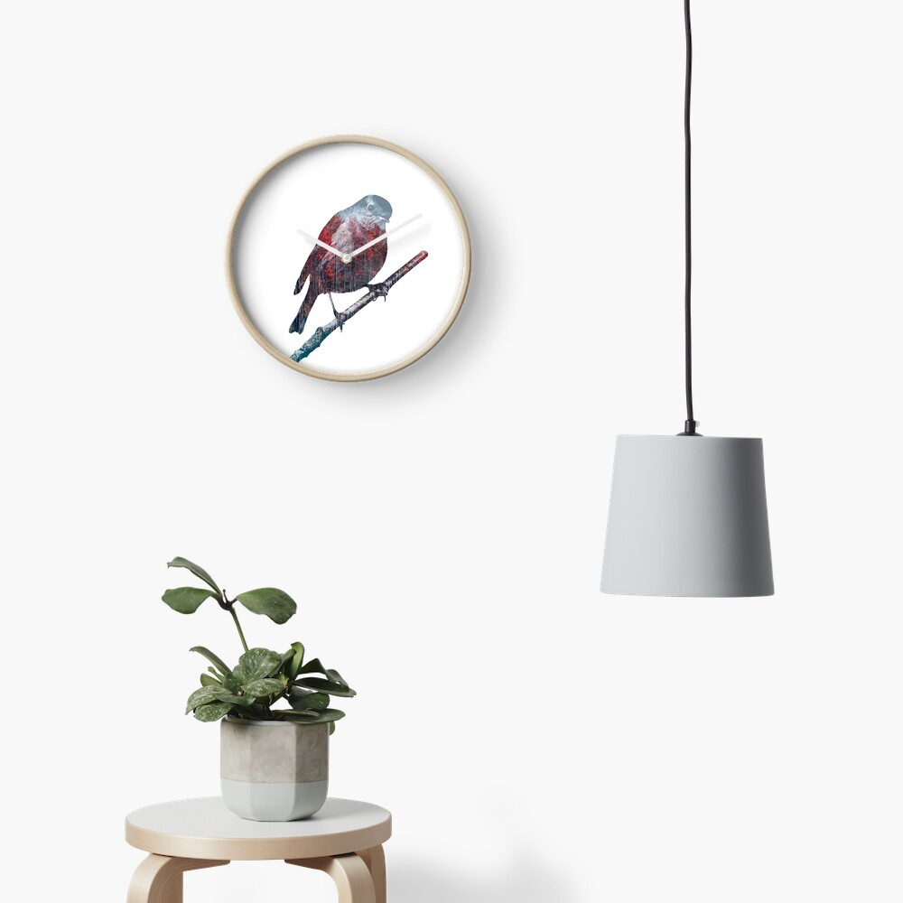 Forest Robin on a Branch  Clock