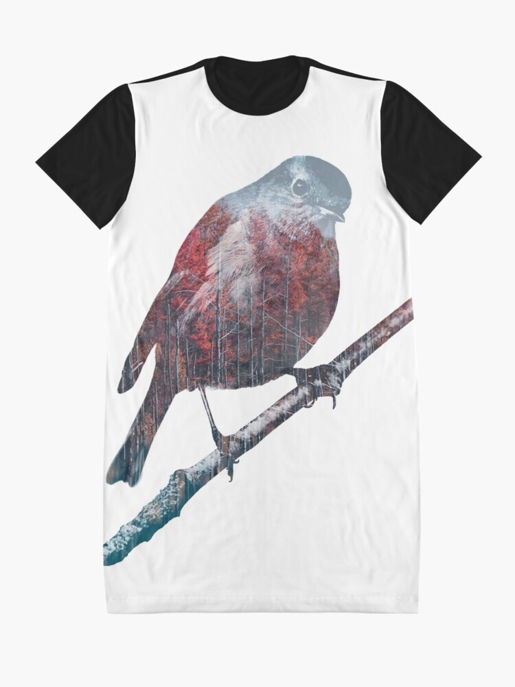 Alternate view of Forest Robin on a Branch  Graphic T-Shirt Dress