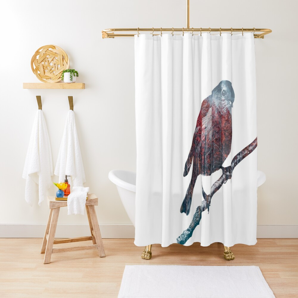 Forest Robin on a Branch  Shower Curtain