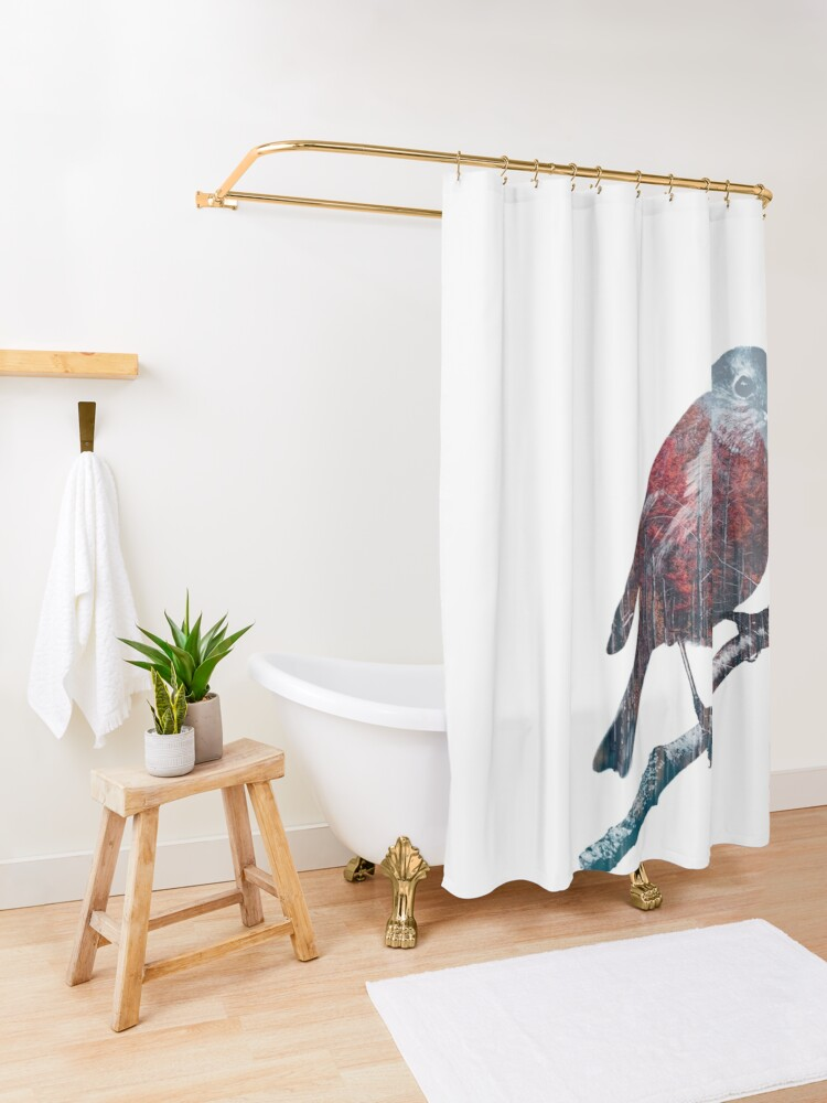 Alternate view of Forest Robin on a Branch  Shower Curtain