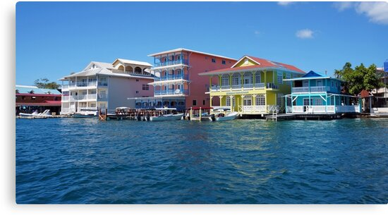 Colorful Caribbean buildings over the water by Dam - www.seaphotoart.com