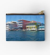 Colorful Caribbean buildings over the water Studio Pouch