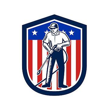 American Pressure Washing USA Flag Shield Retro by patrimonio