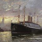 German Ship in New York harbor, 1900 by edsimoneit
