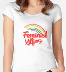 Feminist killjoy retro rainbow Women's Fitted Scoop T-Shirt