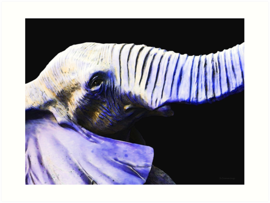Purple Rein - Vibrant Elephant Head Shot Art by Sharon Cummings