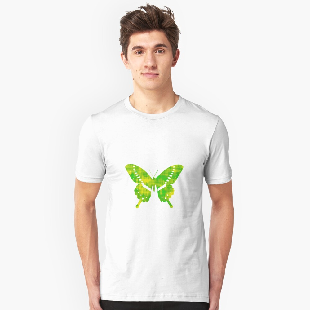 Green & Yellow Butterfly Unisex T-Shirt Front