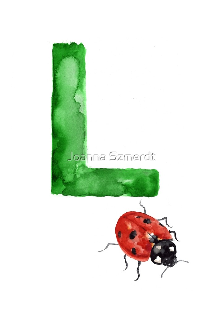 Ladybird watercolor alphabet painting by Joanna Szmerdt