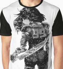 Manga Angel watercolor distressed in black and white Graphic T-Shirt