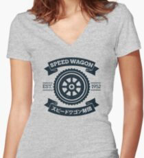SPW - Speed Wagon Foundation [Navy] Women's Fitted V-Neck T-Shirt