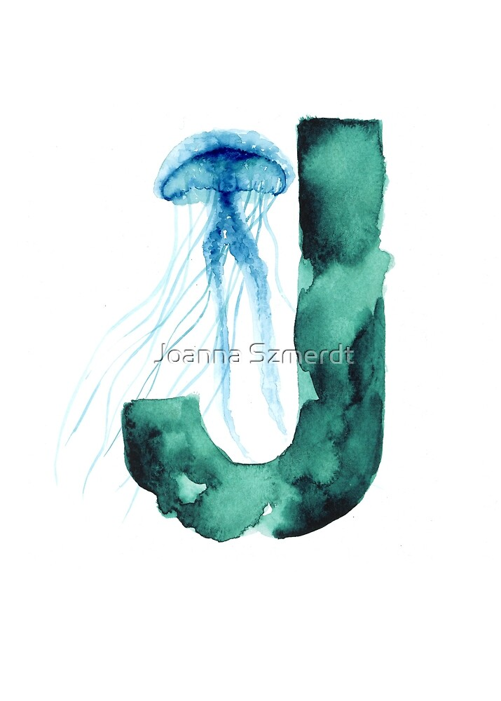 Blue jellyfish watercolor alphabet poster by Joanna Szmerdt