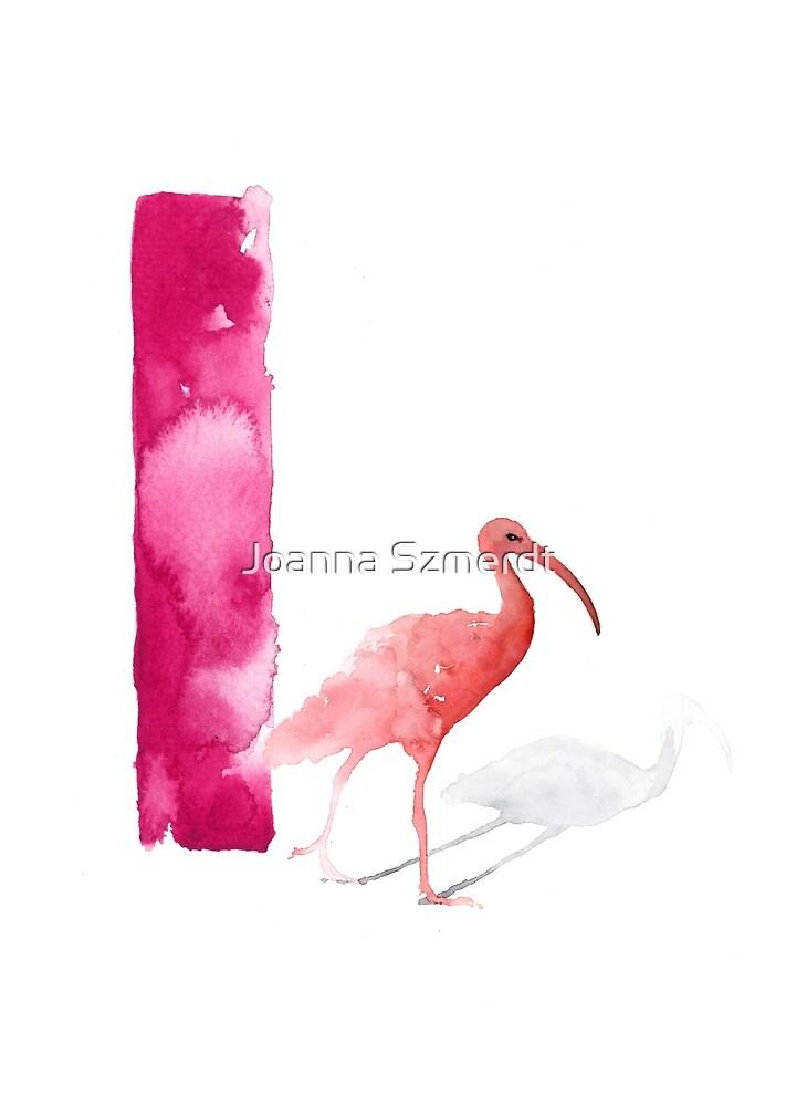 Watercolor alphabet pink ibis poster by Joanna Szmerdt