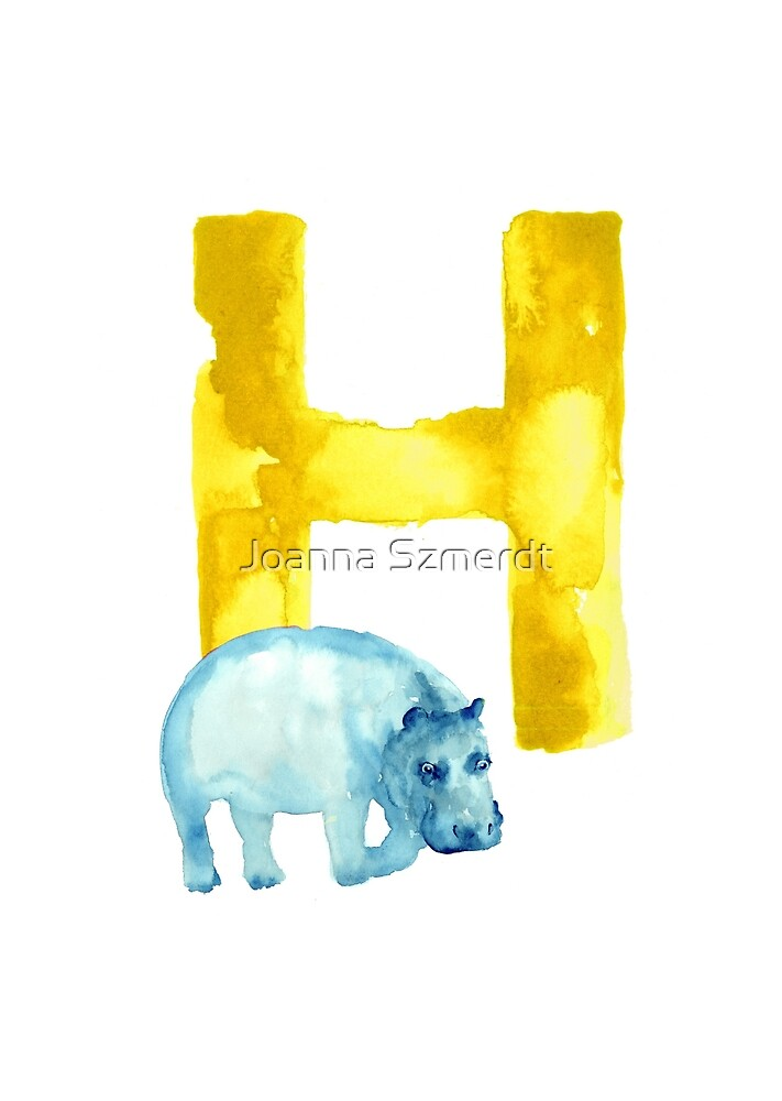 Hippo watercolor alphabet drawing by Joanna Szmerdt