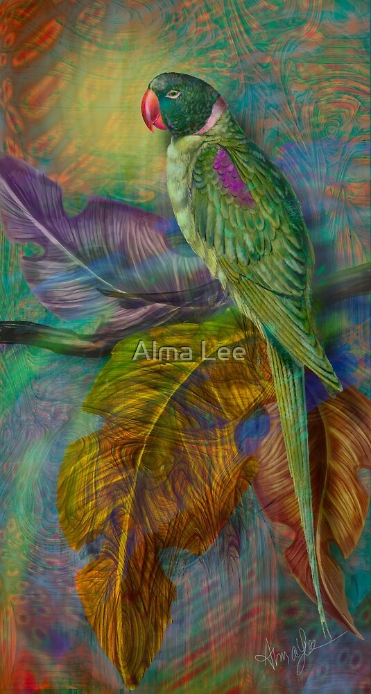 The Green Parakeet:  inspired by Edward Lear Botanicals by Alma Lee by Alma Lee