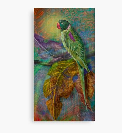 The Green Parakeet:  inspired by Edward Lear Botanicals by Alma Lee Canvas Print