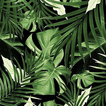 Tropical Jungle Night Leaves Pattern #5 #tropical #decor #art  by anitabellajantz