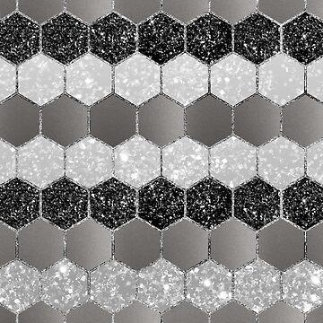 Silver Hexagon Glitter Glam #1 #geometric #decor #art  by anitabellajantz