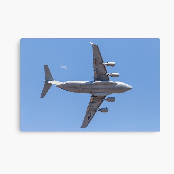 USAF C17 and the moon Canvas Print