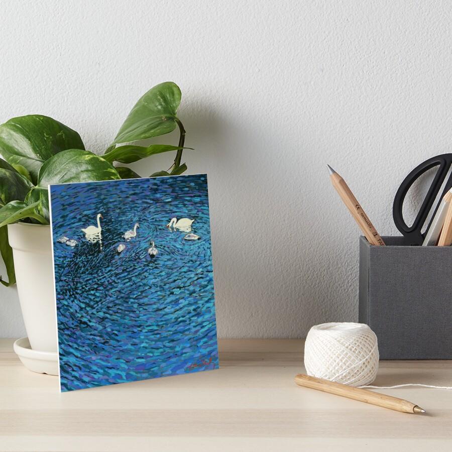 Swan Family Art Board Print
