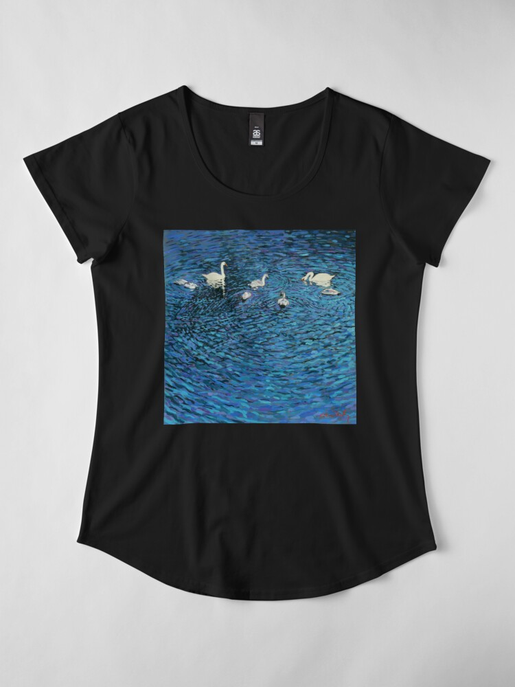 Alternate view of Swan Family Premium Scoop T-Shirt