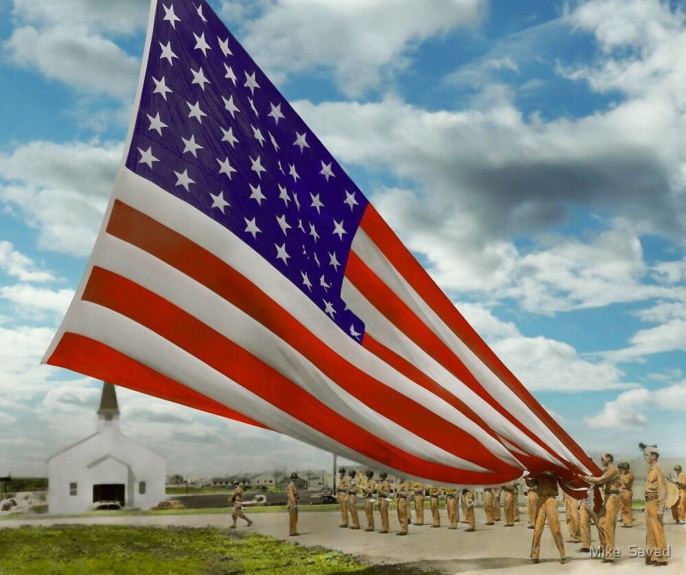 Americana - Fort Hood Texas - Unfolding the flag 1944 by Michael Savad