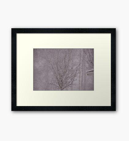 Snowy haiku Framed Print