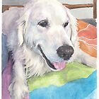 white retriever watercolor portrait by Mike Theuer