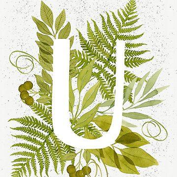 Monograma de la letra U con helecho verde acuarela y hojas de helga-wigandt