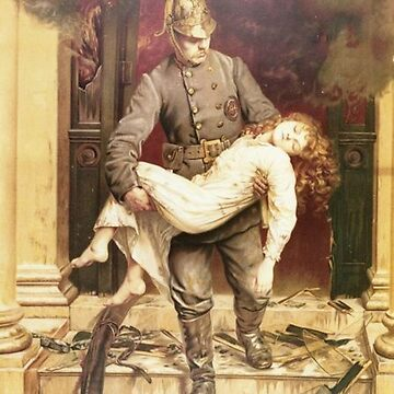 Fireman rescuing a girl - vintage painting by Geekimpact