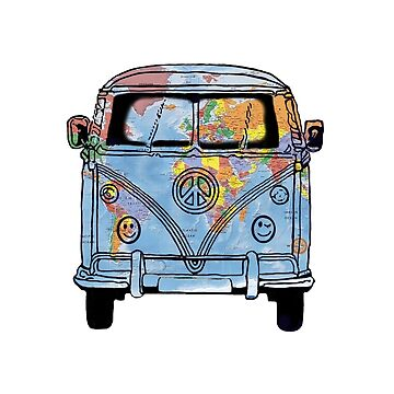 World Traveler Bus Peace Sign Symbol Happy Face Headlights by Swigalicious