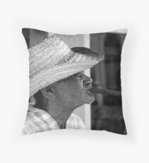 Old Cuban smoking large Cigar Throw Pillow
