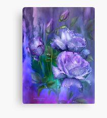 Raindrops On Lavender Roses Canvas Print