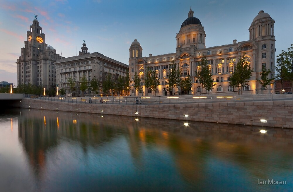 Reflections of the three graces at dusk, Liverpool by Ian Moran